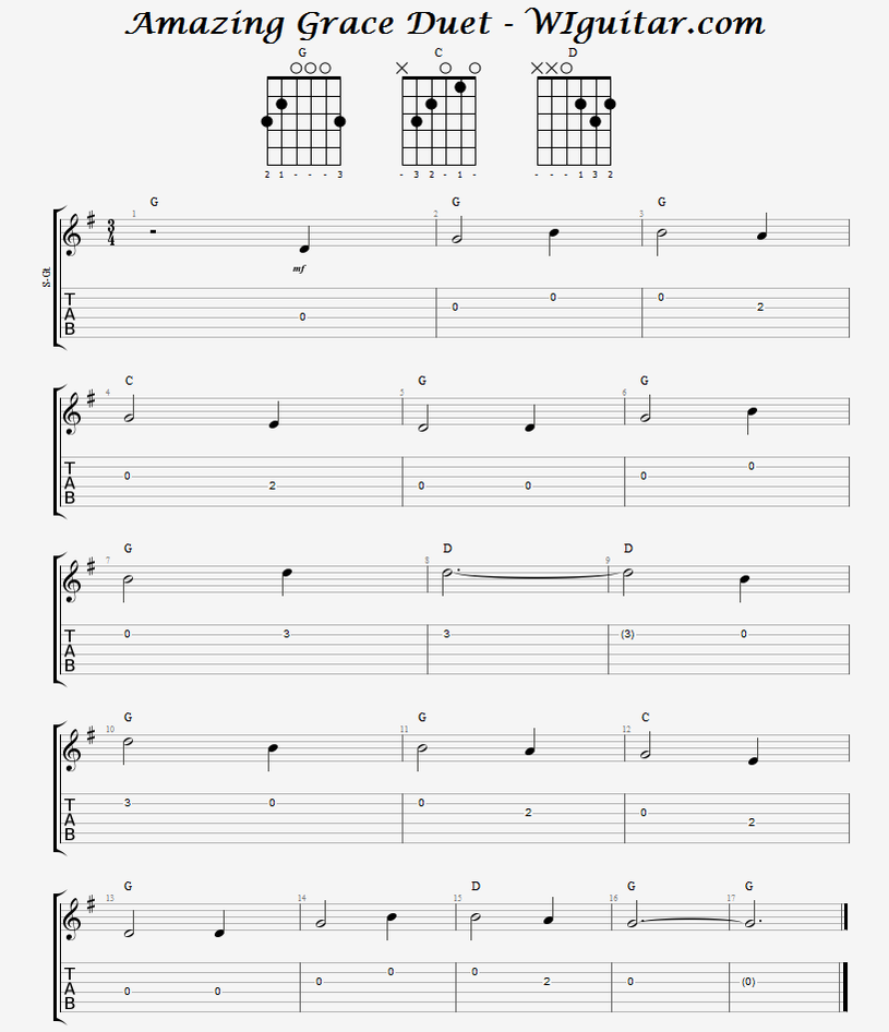 Amazing Grace Guitar Duet Tab And Music Wisconsin Guitar Lessons